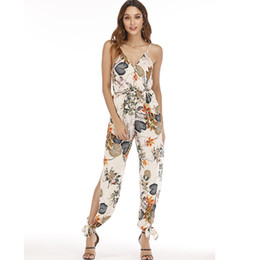Womens Floral Print Trousers Australia - Female Jumpsuit For Women 2019 Floral Print Jumpsuit Trousers Female Bohemian Rompers Womens Jumpsuit Long Pants Summer Overalls Y190427