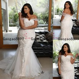 Wholesale button strap for sale – dress 2019 african luxury Sexy Mermaid Wedding Dresses off the shoulder Lace Appliques Long sweep Train Button Back Plus Size Formal Bridal Dress
