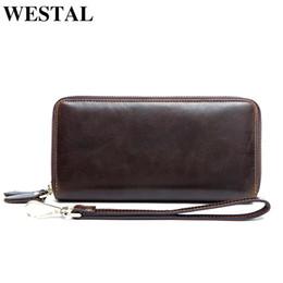 Long Male Wallet Zipper Australia - Westal Wallet Male Genuine Leather Coin Purse Men Zipper Credit Holder Partmone Long Clutch Male Genuine Leather Men's Wallets Y19052104