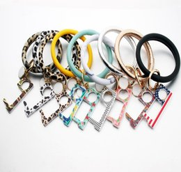 tool bracelet Australia - Bracelet Keychain EDC Door Opener PU Leather Key Ring Holder Wristlet Women Bangles Contactless Elevator Tool Girl Jewelry 80pcs DW5558