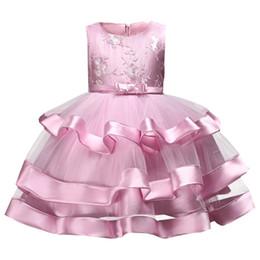 Red White Blue Tutus UK - Children's Clothing Girls High-end Kids Dresses Lace Beaded Flower Wedding Birthday Dress Baby Girl Tutu Clothes J190514