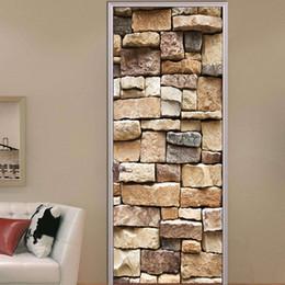$enCountryForm.capitalKeyWord Australia - 2pcs set 3D Stone Texture DIY Door Art Mural Sticker 70*200cm Self-adhesive PVC Wall Sticker Bedroom Home Decor Wallpaper Poster