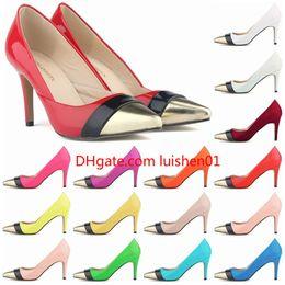 $enCountryForm.capitalKeyWord NZ - Women Red Bottom High Heels Pointed Toe Patent Pu Leather Heels Corset Style Work Pumps Court Shoe US 4-11 D0225