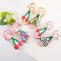 Baby Girl Cute Sandals Australia - Cute Little Heart+bee Girls Sandals Kids Summer Baby Girls Sandals Shoes Skidproof Toddlers Children Kids Flower Shoes Size 3 colors 21-35