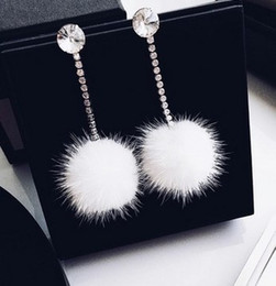 longest earrings NZ - Rhinestone Long Dangle Earrings White Fur Drop Ball Earrings wedding Women bride Ear Jewelry
