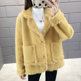 knitted shorts pattern Australia - Sweater Women 2019 Autumn Pattern Trend Loose Long Sleeve Lapel Collar Burrs Cardigan Vintage Knitted Female Mink Velvet Coat SH190930