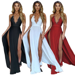 lace split maxi dress white NZ - Lace Ruffles Sexy Club Party Dress Women Spaghetti Strap Side High Split Beach Dress Summer Deep V Neck Backless Maxi Dress