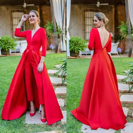 e8e8b934225 2019 Modest Red Jumpsuits Prom Dresses 3 4 Long Sleeves V Neck Formal  Evening Party Gowns Cheap Special Occasion Pants BC1821