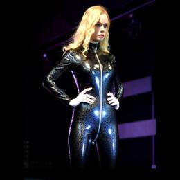 Rompers Catsuit Jumpsuits Australia - Plus Size Long Sleeve Bodysuit Glitter Rompers Womens Jumpsuit Overalls Zipper Open Crotch Bodysuit PVC Latex Catsuit One Piece T5190614