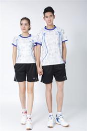 $enCountryForm.capitalKeyWord Australia - LI NING 1771+802 Quick-drying Breathable Badminton Suit Short Sleeve round neck T-shirt shorts Running Basketball wear Men&Women white