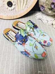 Flat Slippers For Ladies Australia - Women Genuine Princetown Flora Print Canvas Slipper, Designers Flats Mules Fashion Outdoor Sandals Spring Collection for Ladies Size 35-41