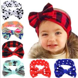 Babies Hair Wearing Headbands Australia - Baby Children Headbands Girls Bow Rabbit Ears Hairbands Bunny Ears Headband Fashion Colorful Plaid print Headdress Wearing Hair Band YL910
