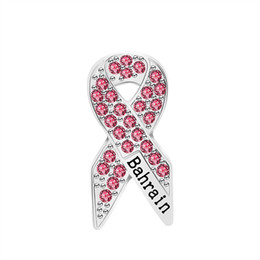 Sapphire broocheS online shopping - Fashion Pink Rhinestone Pins Bahrain Ribbon Brooch Bowtie Aid Symbol Pin Icon Love HIV and AIDS Badge Sweater Backpack Lady Brooch Jewelry
