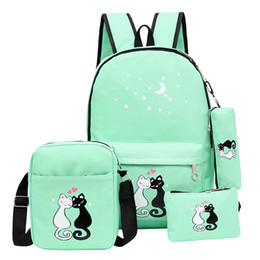 $enCountryForm.capitalKeyWord Australia - 2019 Women Backpack Schoolbag 4 pcs set lovely Cute Cartoon Cat Print School Bag Backpacks for Teenage Girls Daypack Rucksack