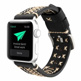 $enCountryForm.capitalKeyWord Australia - For Apple Smart Watch Handmade 3 Color Watch Accessories Vintage Genuine Leather 38mm 42mm Watchband Watch Strap Breathable Easy to Install