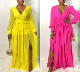 $enCountryForm.capitalKeyWord Australia - Sexy Womens Maxi Dresses Perspective Deep V-Neck Long Sleeve Split Dresses With Sashes Fashion Ladies Dresses