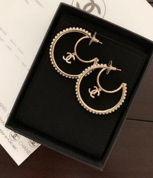Moon Inlay Australia - Exquisite design Crescent moon Earring with box inlay white pearl are very fashion popular best gift for lady's BD0005