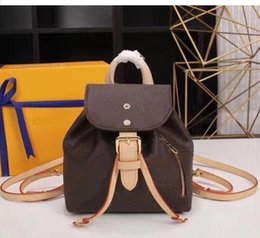 $enCountryForm.capitalKeyWord Australia - Women classic mini school bag double shoulder straps bag genuine leather fashion small purse white grid brown letters flower backpack string