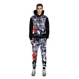 f55956b49fe6 Bape Pants NZ - Men s Basketball 3d Printed Hip Hop Casual Hoodies Joggers  Pants Set Long