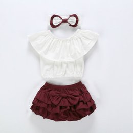 $enCountryForm.capitalKeyWord Australia - 3PCS Baby Girl Off-shoulder T-shirt Tops+Shorts Pants Summer Outfit Clothes