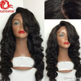 Discount chinese bang body wave hair - Full Silk Top Lace Human Hair Body Wave Wigs With Baby Hair Virgin Peruvian Silk Base Full Lace Wig With Side Bang Gluel