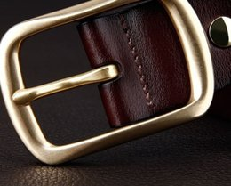 Men Belt Leather 36 NZ - Copper buckle belt, leather pin buckle, genuine leather jeans, waistband, recreational young man, simple middle age
