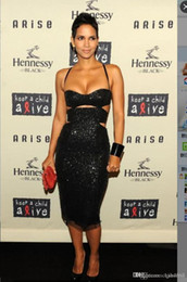 AmAzing crystAl beAded evening dresses online shopping - Amazing Sparkling Tea Length Sheath Prom Dresses Cutway Sides Black Short Cocktail Party Dress Fast Deliver Red Dresses Evening Wear AW315