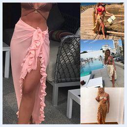 Wholesale covering swimsuits online – Women Bikini Cover Up Summer Chiffon Ruffle Beach Skirts Ladies Sunproof Swimsuit Shawls Bathing Suits Cover Ups