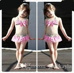 $enCountryForm.capitalKeyWord Australia - 2018 Leopard Pink Kids Girls Swimwear Cute Toddler Swimsuits Baby Swimsuits Bathing Suit Girl three Pieces Bikini Swimming Suit 5sets lot