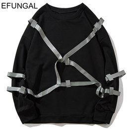 winter long sleeve tees NZ - EFUNGAL Ribbons Long Sleeve Men T-shirts Solid Color Casual Streetwear Fall Winter Pullover Oversize Tshirt Hip Hop Tops Tees