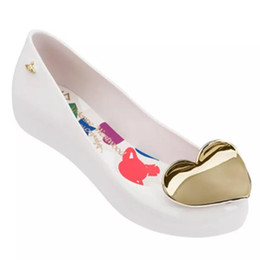 Jelly Shoes Melissa Flat Australia - Melissa 2019 Women Heart Flat Sandals Brand Melissa Shoes For Women Jelly Sandals Female Jelly Shoes