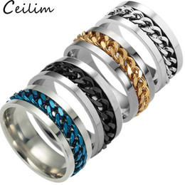 $enCountryForm.capitalKeyWord Australia - New High-end boutique men's stainless steel gold black silver chain rotatable ring finger tide personality 5 colors Band Ring Finger Jewelry