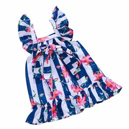 $enCountryForm.capitalKeyWord UK - Kids Designer Dress Girls Blue White Striped Dress Flower Print Square Collar Conventional Sleeve Bow Ribbon 61