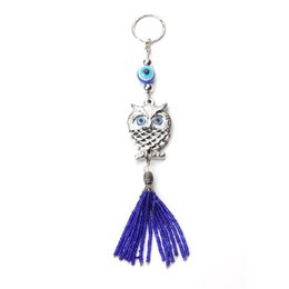 Evil Eye Car Pendant Australia - Owl blue bead tassel pendant blue evil eye key chain pendant bag accessory car small gift