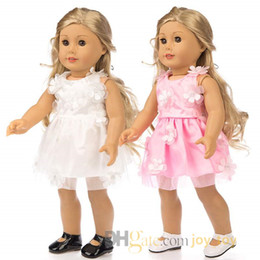 white dresses for girls casual Australia - Summer Skirt One Piece Dress Cloth Pink White with flower for 18 inch American Girl Doll