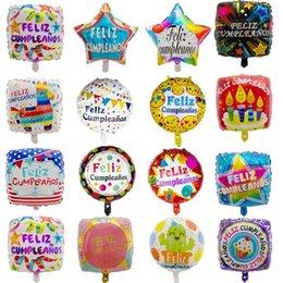 $enCountryForm.capitalKeyWord Australia - 50pcs 18inch Spanish Happy Birthday Party Decoration Foil Balloons Feliz Cumpleanos Square Stars Helium Balls Baby Shower Globos Y19061704