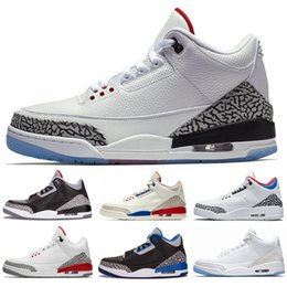 cheap basketball shoes for men Australia - Cheap New Jumpman 3 black cement true blue white cement sport blue infrared 23 wolf grey mens kids basketball shoes for men sneakers