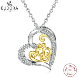 DaD mom baby online shopping - EUDORA Necklace Sterling Silver Family Pendant for Mom Baby Dad gift Fine Jewelry Solid Silver gold silver Heart CZ PendantsD291