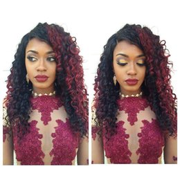 Ombre Kinky Lace Wigs Australia - China products kinky curly Brazilian human hair Ombre Color #99J full lace hair wig for black women with baby hair lace front wig