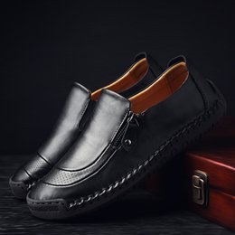 vintage leather casual shoes men Australia - Genuine Leather Loafers Male Fashion Flats Casual Men Shoes Handmade Classic Male Loafers Vintage Men Driving Shoes HC-443