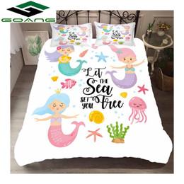 Discount girls twin size bedding sets - GOANG full size bedding sets luxury home textiles 3d Digital printing Mini mermaid 3pcs girl bedding set 100% microfiber