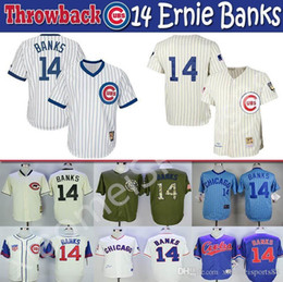 baseball jerseys throwbacks NZ - Mens & Womens & Youth kids High quality Multi color Knit jersey 14 Ernie Banks Throwback players baseball Jerseys