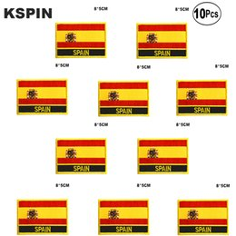 spain clothes UK - Spain Flag Embroidery Patches Iron on Saw on Transfer patches Sewing Applications for Clothes in Home&Garden