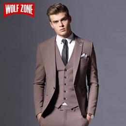 Men Slim Fit Suits Sale Australia - Sale Brand Mens Suit Jacket Formal Business Blazer Men Groom Three Pieces Slim Fit Party Clothing Single Button Wedding Dress #495879