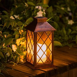 outdoor hanging candles NZ - Solar Lantern Outdoor Garden Lighting Hanging Lantern -Waterproof Led Flickering Flameless Candle Mission Lights For Table Outdoor Party