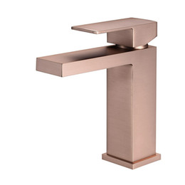 ceramic hot plate UK - Brushed Rose Gold Brushed Gold Bathroom Basin Faucet Cold And Hot Water Mixer Bath Sink Deck Mounted Single Handle Tap