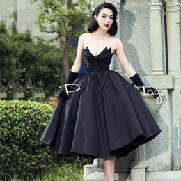 Black Gold Puffy Dress Australia - Black Vintage Strapless short Evening Dresses Ball Gowns Puffy Pleated Custom made Chic Formal Dresses Vestidos de Novia V neck Classic