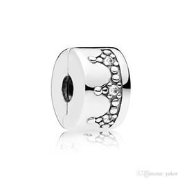 Boxed Charms Australia - New arrival Crown Clips Charm Set Original Box for Pandora 925 Sterling Silver DIY Bracelet CZ Diamond Charms Jewelry accessories