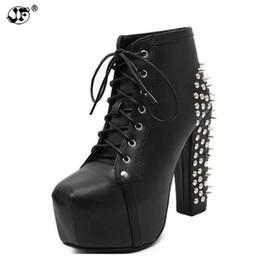 Rock Blocks Australia - Women Rock Punk Spikes Rivets Ankle Boots Biker Lita Platform Chunky Block Ultra High Heel Bota Shoes High Top 756
