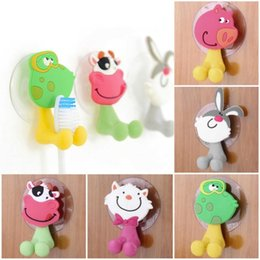 $enCountryForm.capitalKeyWord Australia - Cute Cartoon Sucker Toothbrush Holder Suction Cup Hooks Bathroom Set Accessories Eco-Friendly Pig Pet Rabbit Cat Frog